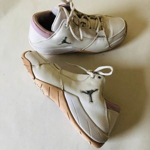 JORDAN Girls Sneakers Pink and White Round toe